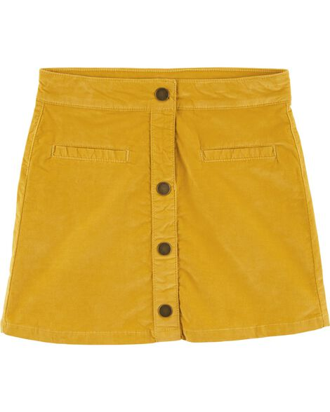 Snap-Up Corduroy Skirt