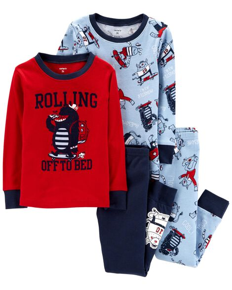 223517056e51 4-Piece Monster Snug Fit Cotton PJs