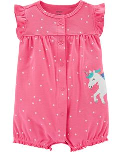 f6113443c962 Polka Dot Unicorn Snap-Up Romper