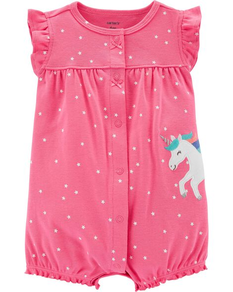 bfff221932db Polka Dot Unicorn Snap-Up Romper ...