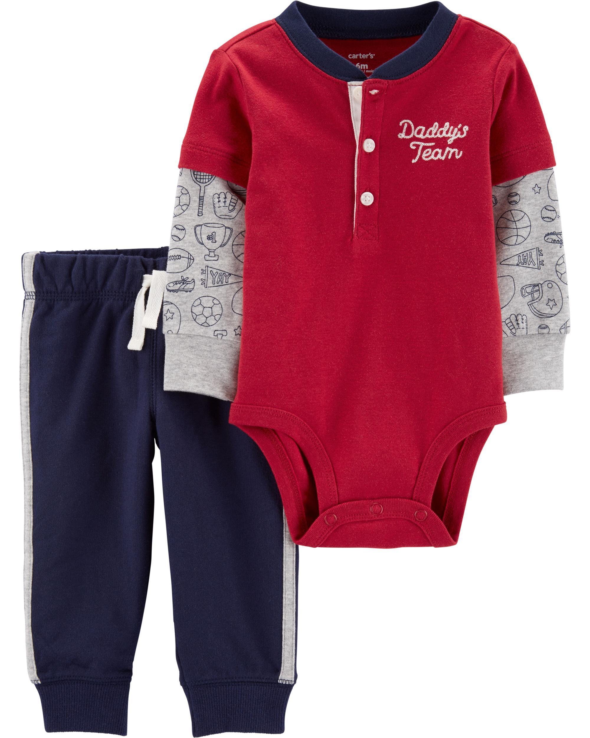 *DOORBUSTER* 2-Piece Layered-Look Henley Bodysuit Pant Set