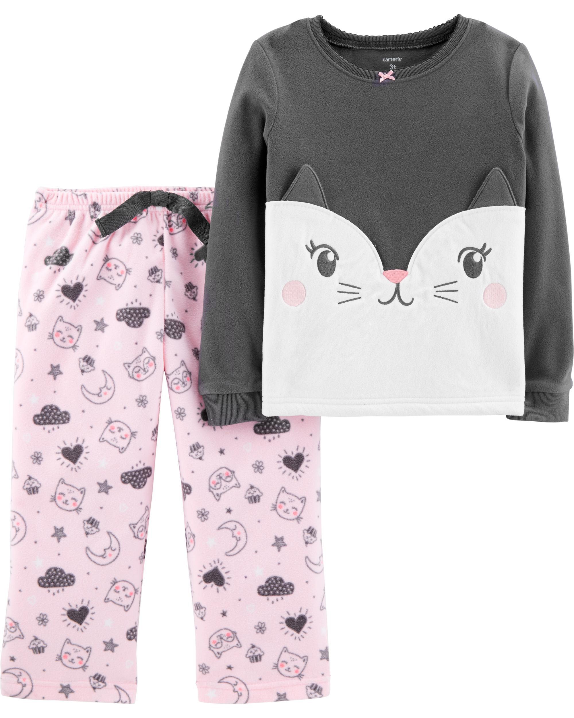 2-Piece Cat Fleece PJs Pajamas   Baby Girl Carter\u0027s