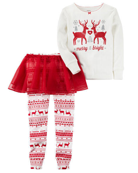 ccd151162 3-Piece Reindeer PJ Set