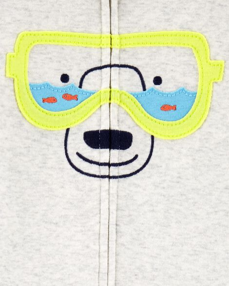 1-Piece Bear Snug Fit Cotton Footie PJs