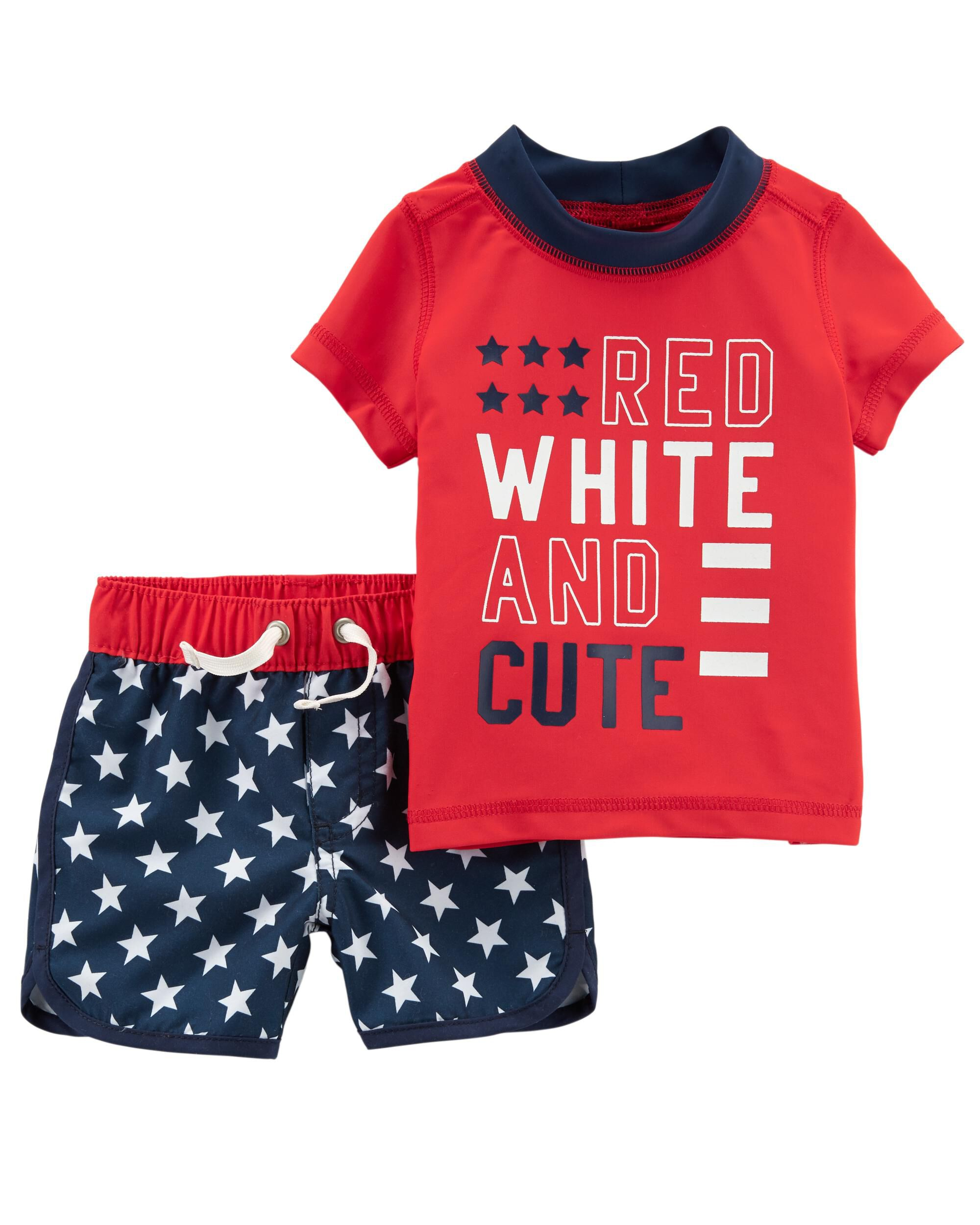 Carters Girls Red White Blue 4th of July 2-Piece Outfit NWT 6-9M or 12M