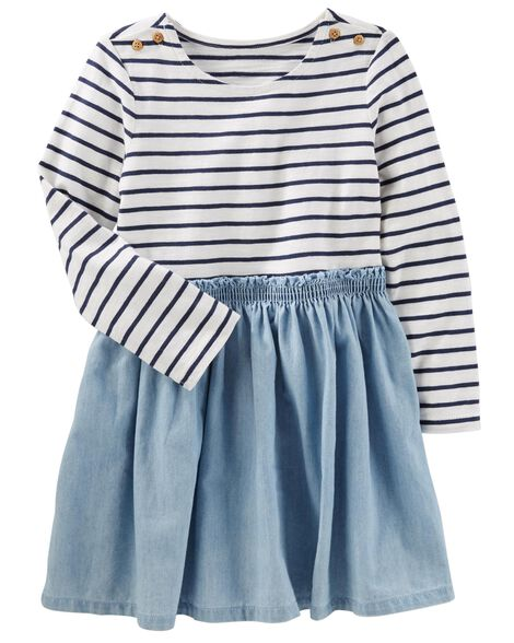 af24e99f4125 Baby Girl Striped Chambray Dress