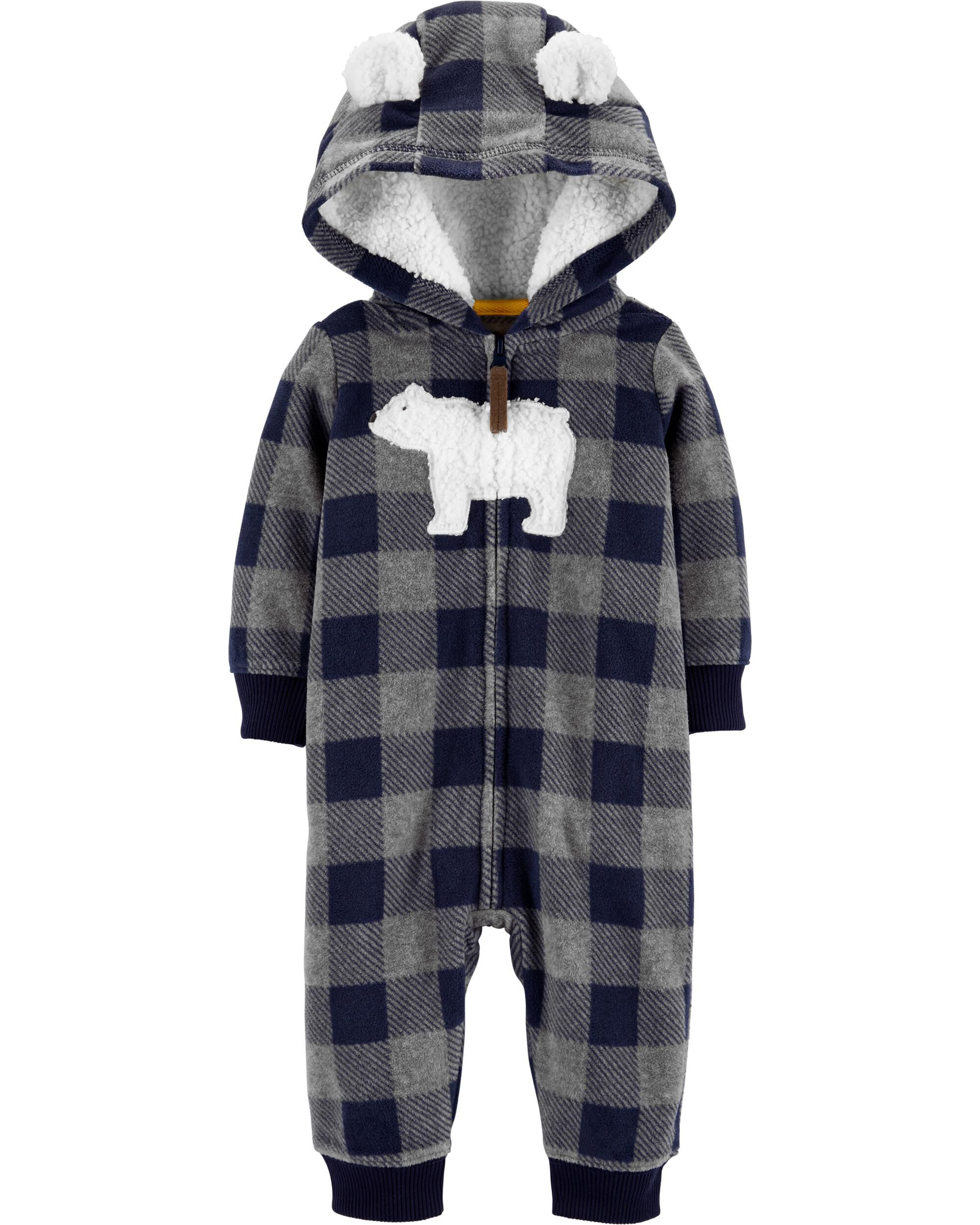 *CLEARANCE* Hooded Polar Bear Fleece Jumpsuit