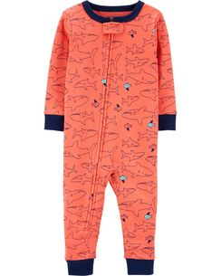 e88d60f74a 1-Piece Snug Fit Shark Cotton Footless PJs