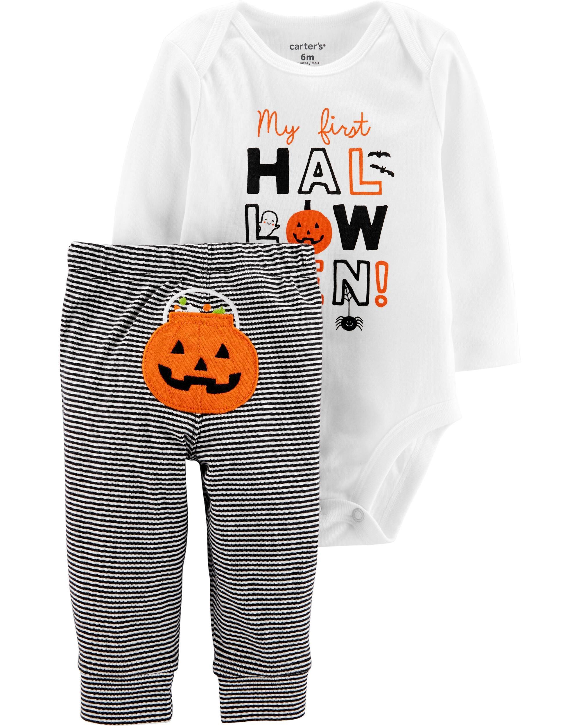 Birthday 1ST Halloween Black Bodysuit Girls Pumpkin Baby Dress Outfit Set NB-18M