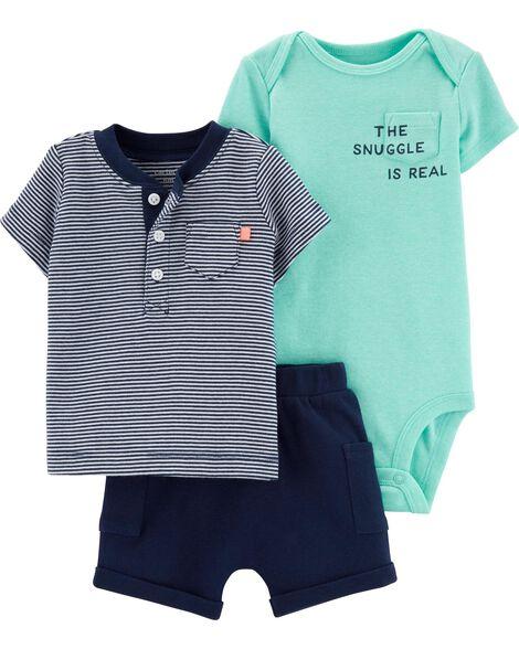 b3e68c04c Baby Boy 3-Piece Snuggle Little Short Set | Carters.com