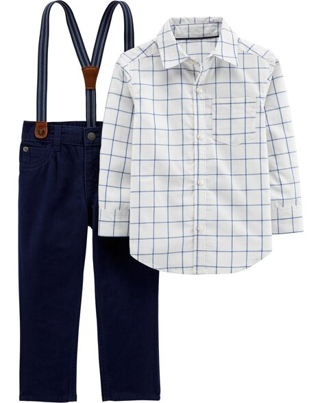 04b0029350e50 2-Piece Checkered Button-Front & Suspender Pant Set | Carters.com