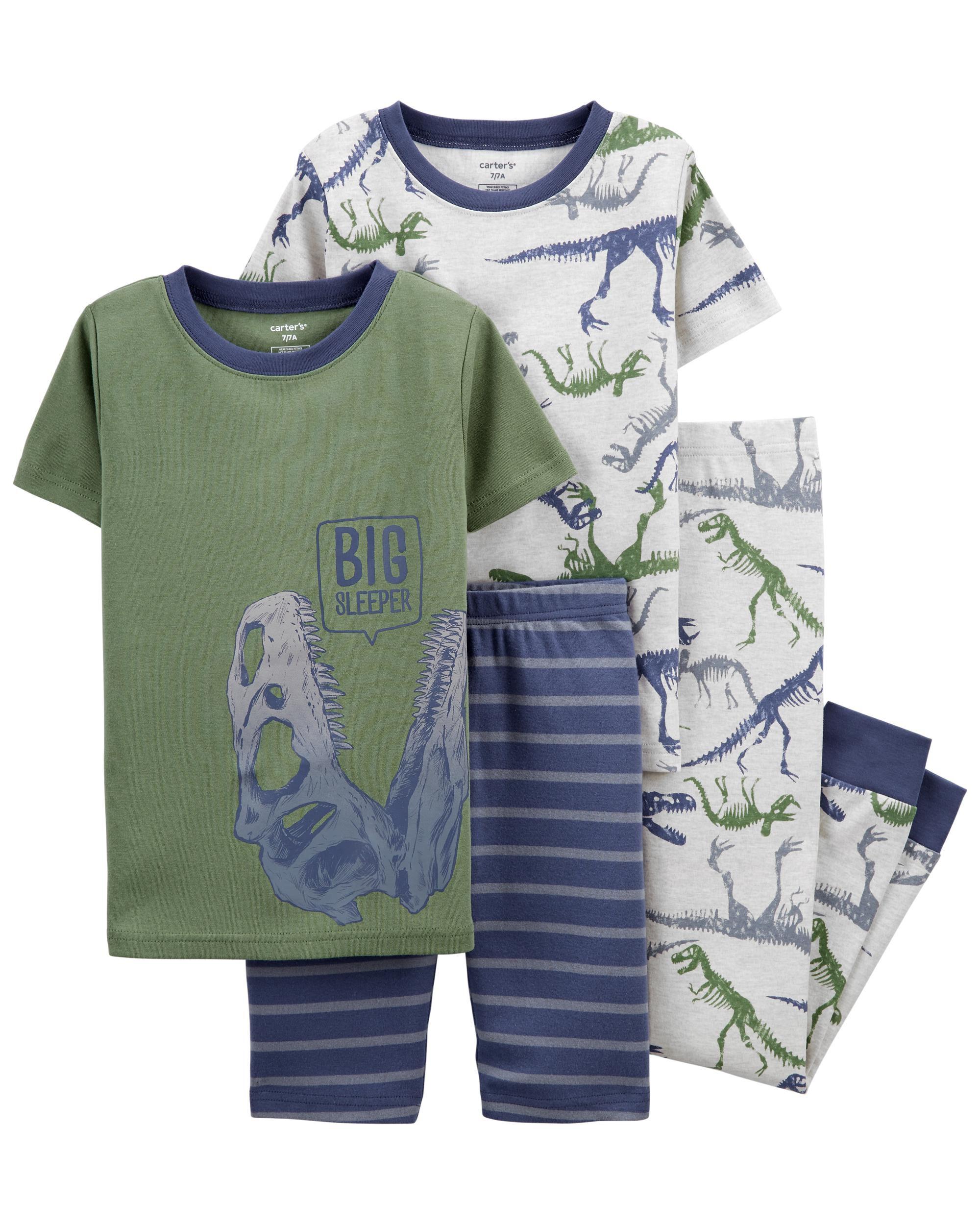 4-Piece Dinosaur 100% Snug Fit Cotton PJs