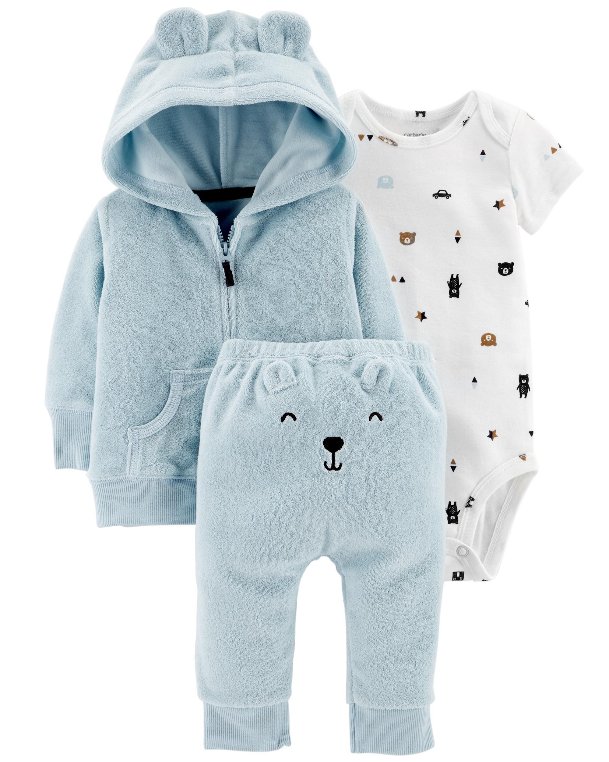 Carters Baby Boy Clothes 12 Months Bodysuit /& Terry Pants Set Outfit Blue