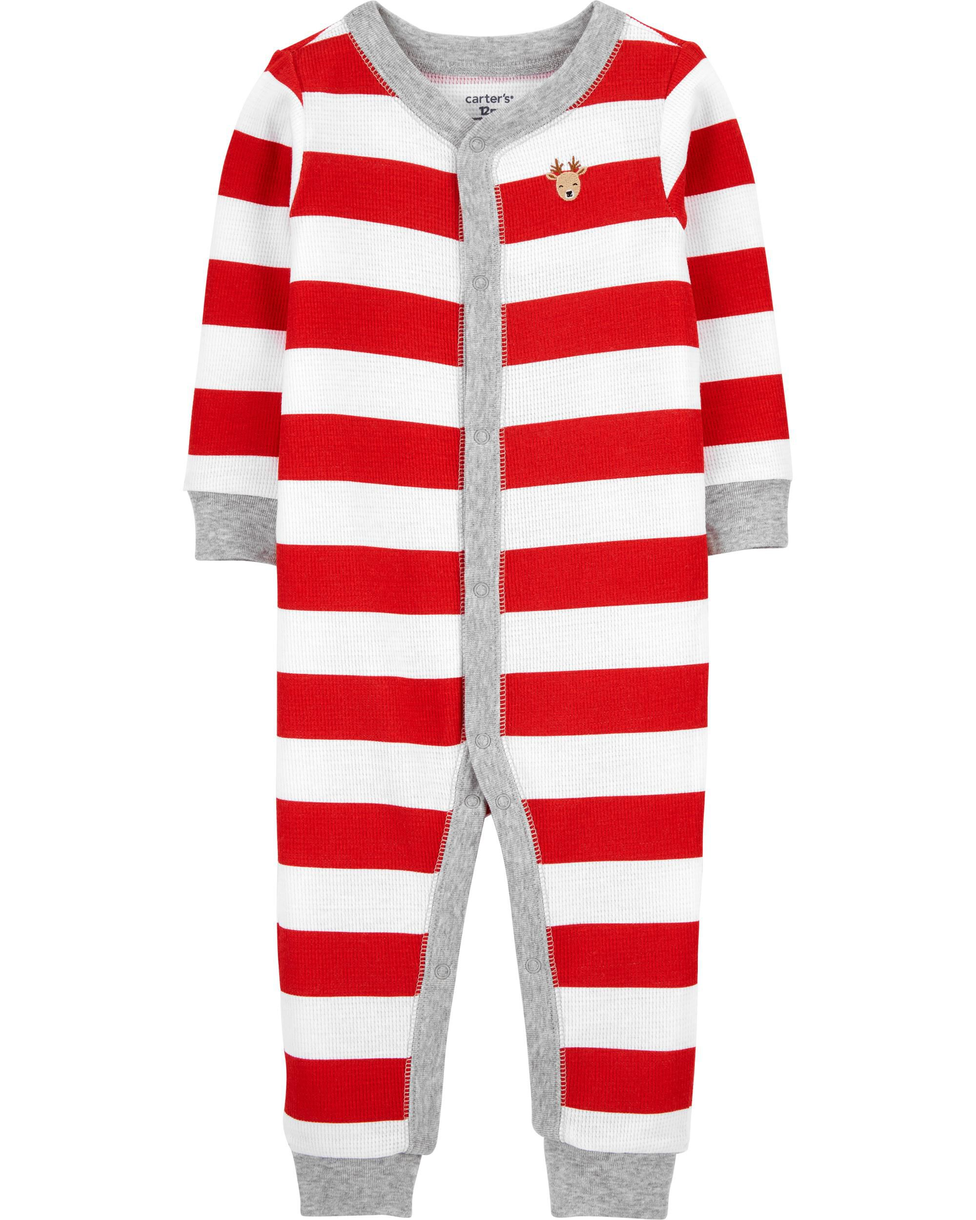 *CLEARANCE* Christmas Snap-Up Thermal Footless PJs