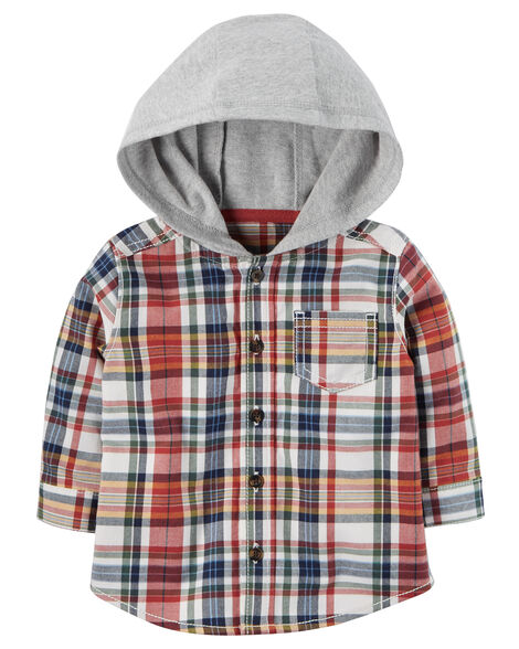 0b1075d15 Flannel Hooded Shirt | Carters.com