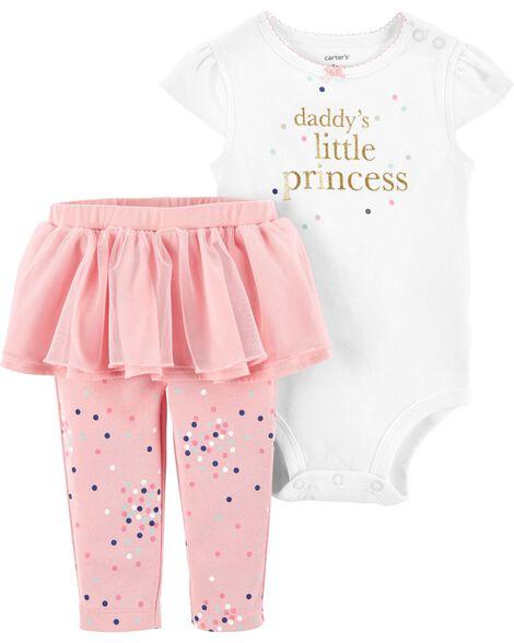 2-Piece Princess Bodysuit & Tutu Pant Set