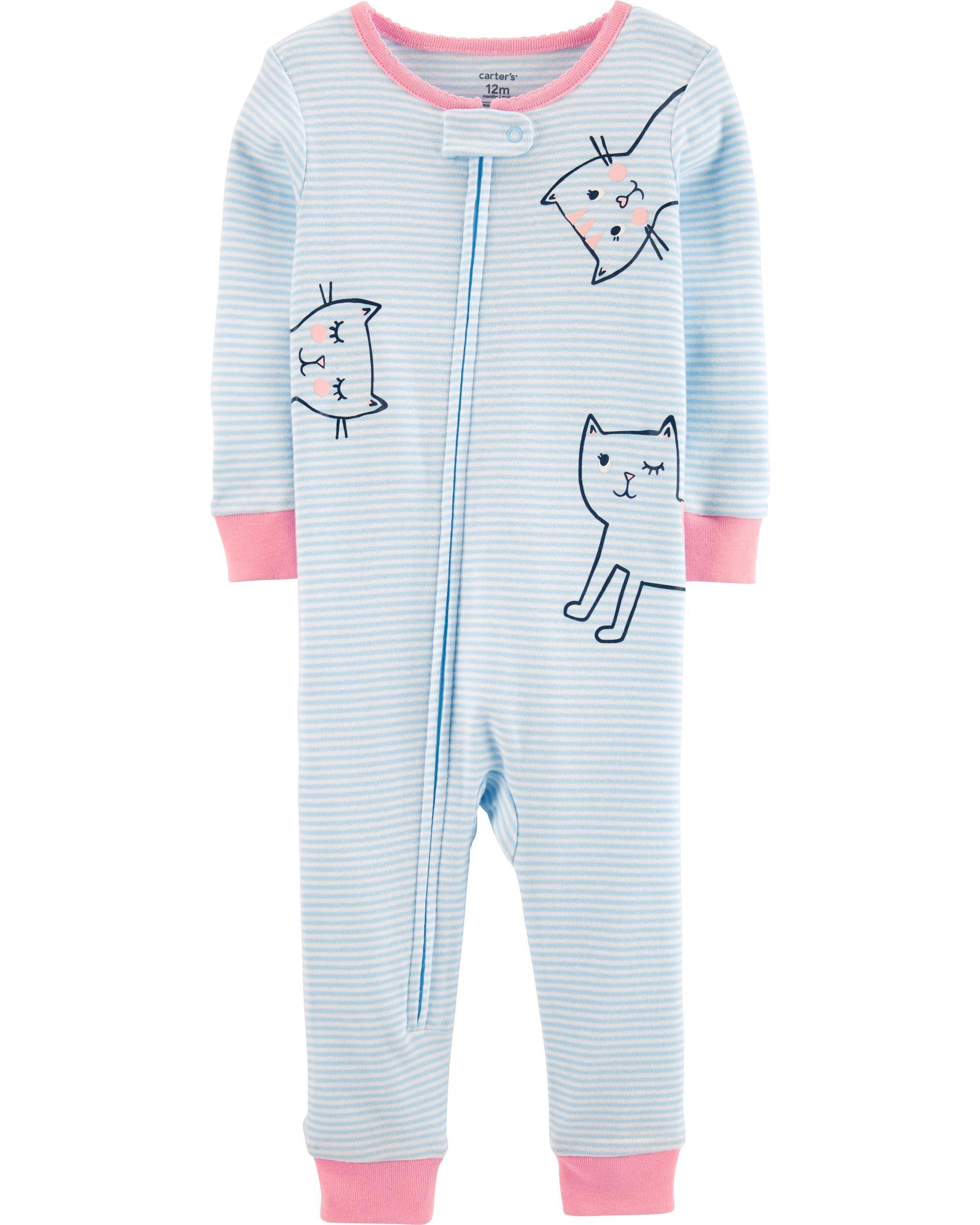 1-Piece Cats Snug Fit Cotton Footless PJs