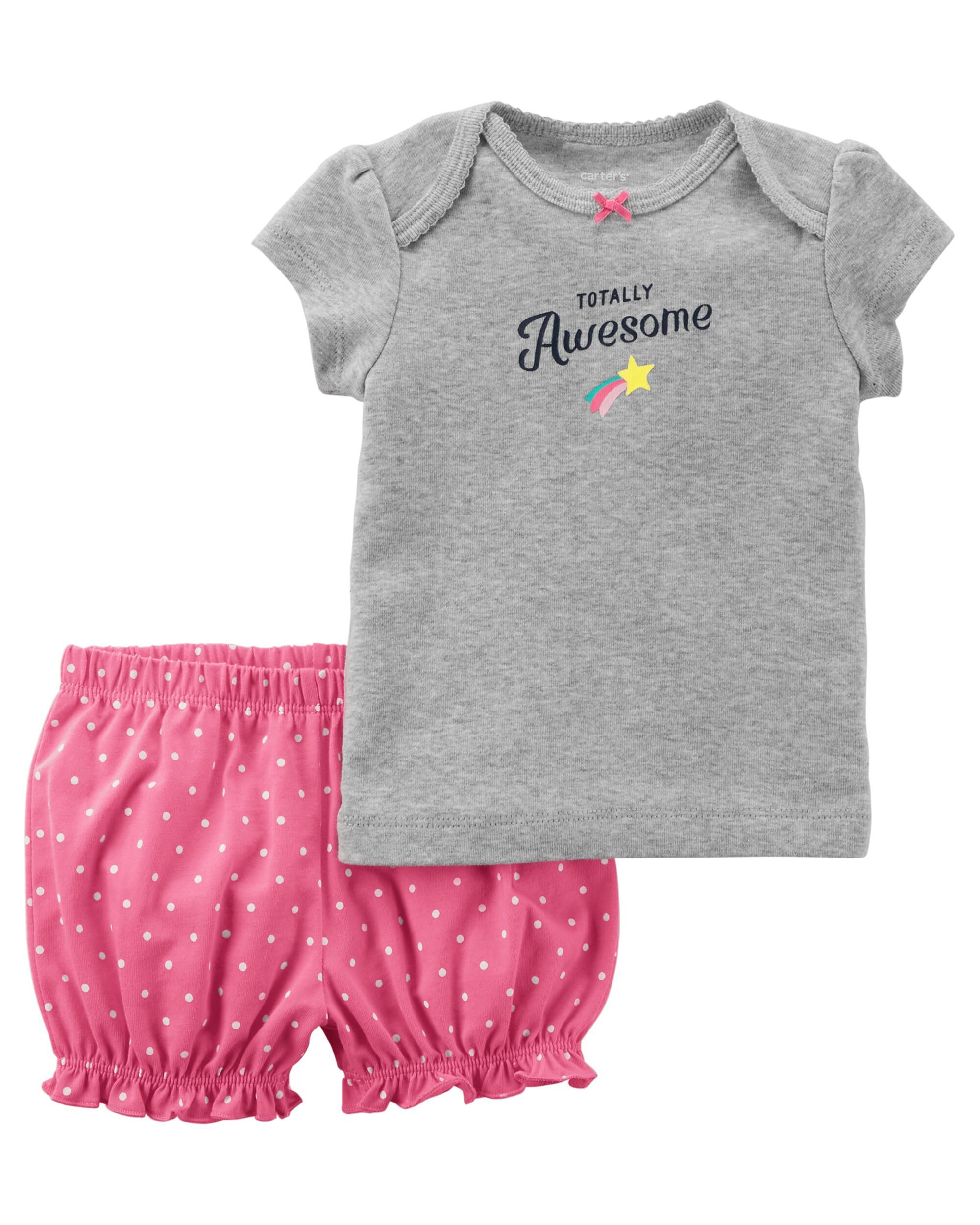 9M - Totally Awesome Baby Carters Baby Girls Slogan Tee
