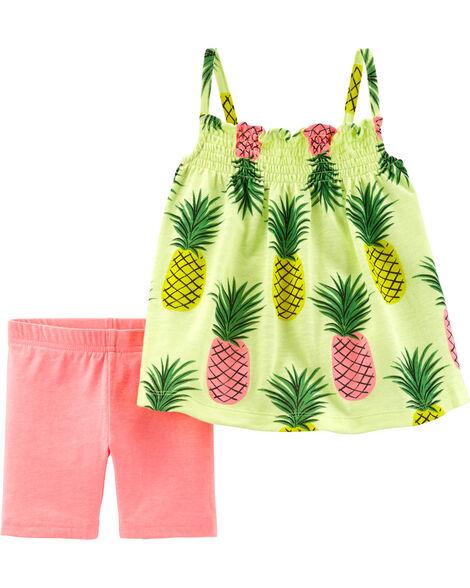 2-Piece Neon Pineapple Tank & Tumbling Short Set