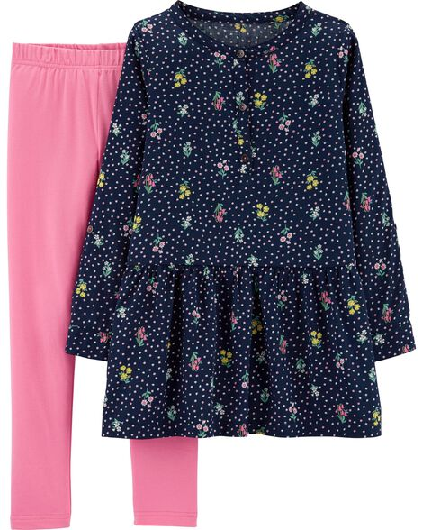 2-Piece Floral Sateen Top & Legging Set