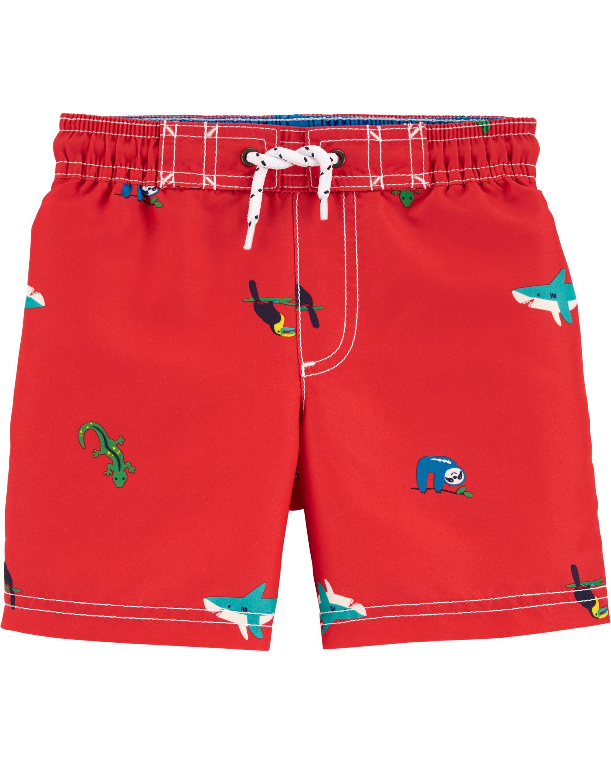 Boys Crocodile Pattern Swim Shorts 9-12 Months