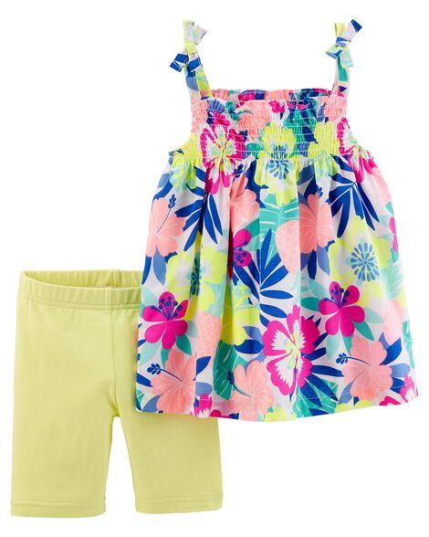 2-Piece Floral Tie Shoulder Tank & Tumbling Short Set