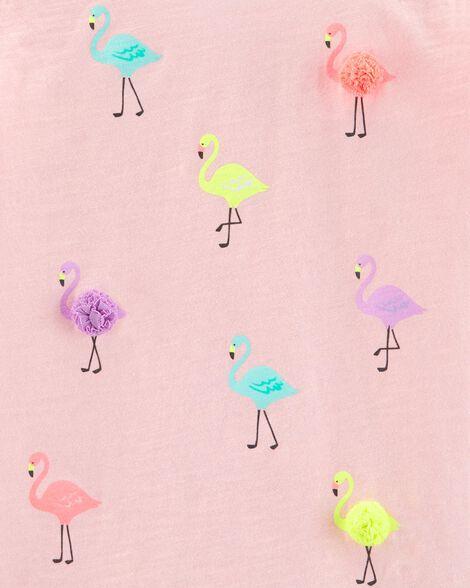 Flamingo Pom Pom Slub Tee