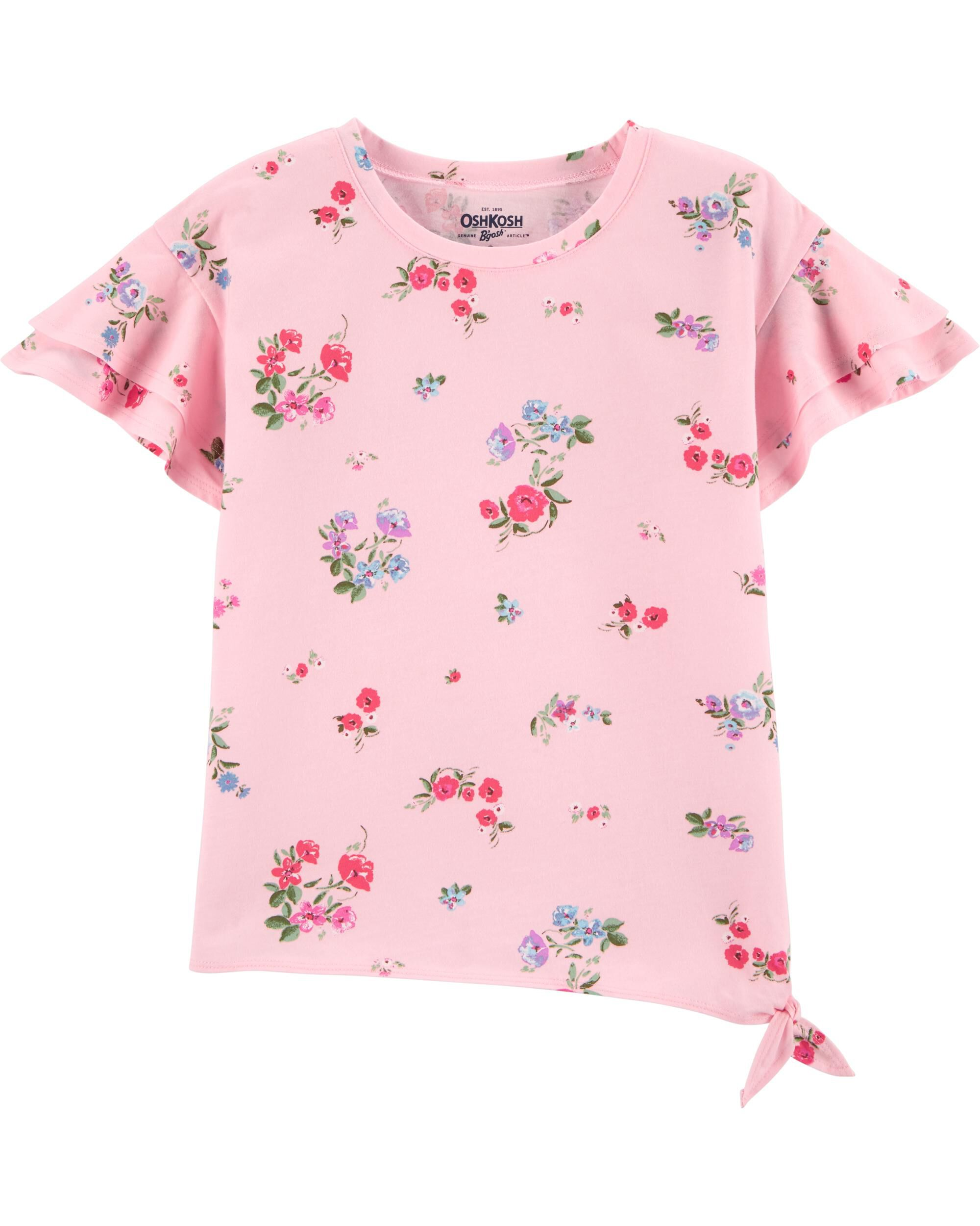 *CLEARANCE* Pink Floral Ruffle-Sleeve Top