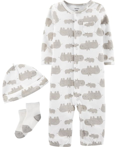 0fd9651b5 3-Piece Hippo Take-Me-Home Set | Carters.com