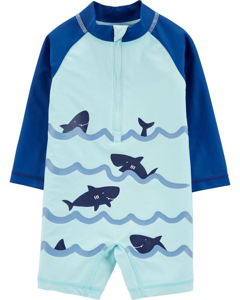 Carters Infant Boys Blue Shark /& Whale Rash Guard Shirt /& Swim Trunks $17.99 New