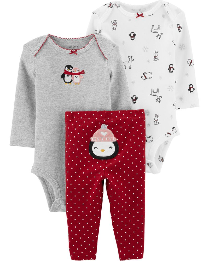 Carters Baby Girls 3-pc Adorable Penguin Layette Set