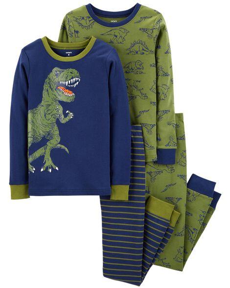 071c10acdcff 4-Piece Dinosaur Snug Fit Cotton PJs