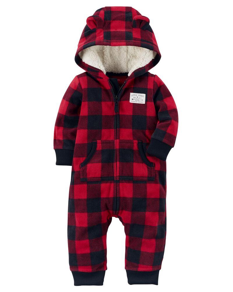 CARTER/'S 1PC RED BUFFALO CHECK BEAR BOY GIRL BLANKET SLEEPER FLEECE PJS 3M 6M