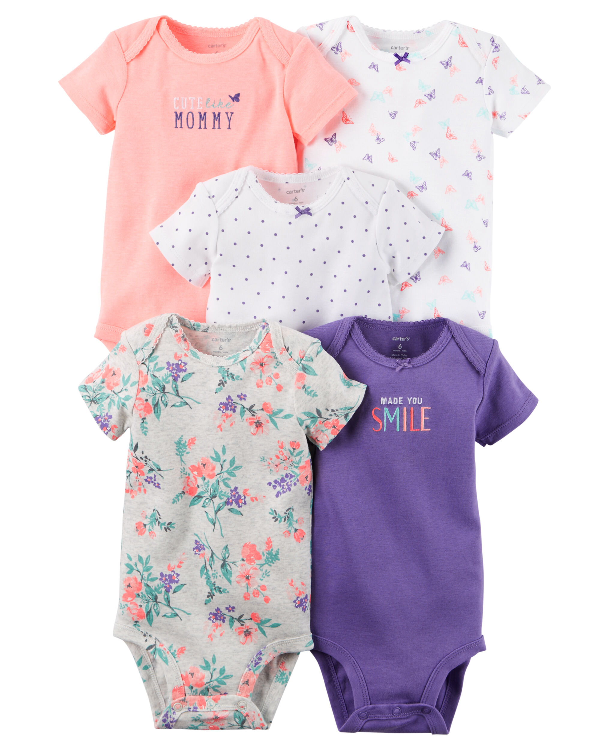 5 Pack Short Sleeve Bodysuits Carters Com