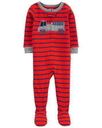 Carter/'s Boys Size 0-3 Months Santa Clause Fleece Zip-Up Striped Footie Pajamas