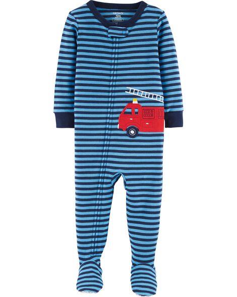 9e8790e59c6b 1-Piece Firetruck Snug Fit Cotton PJs