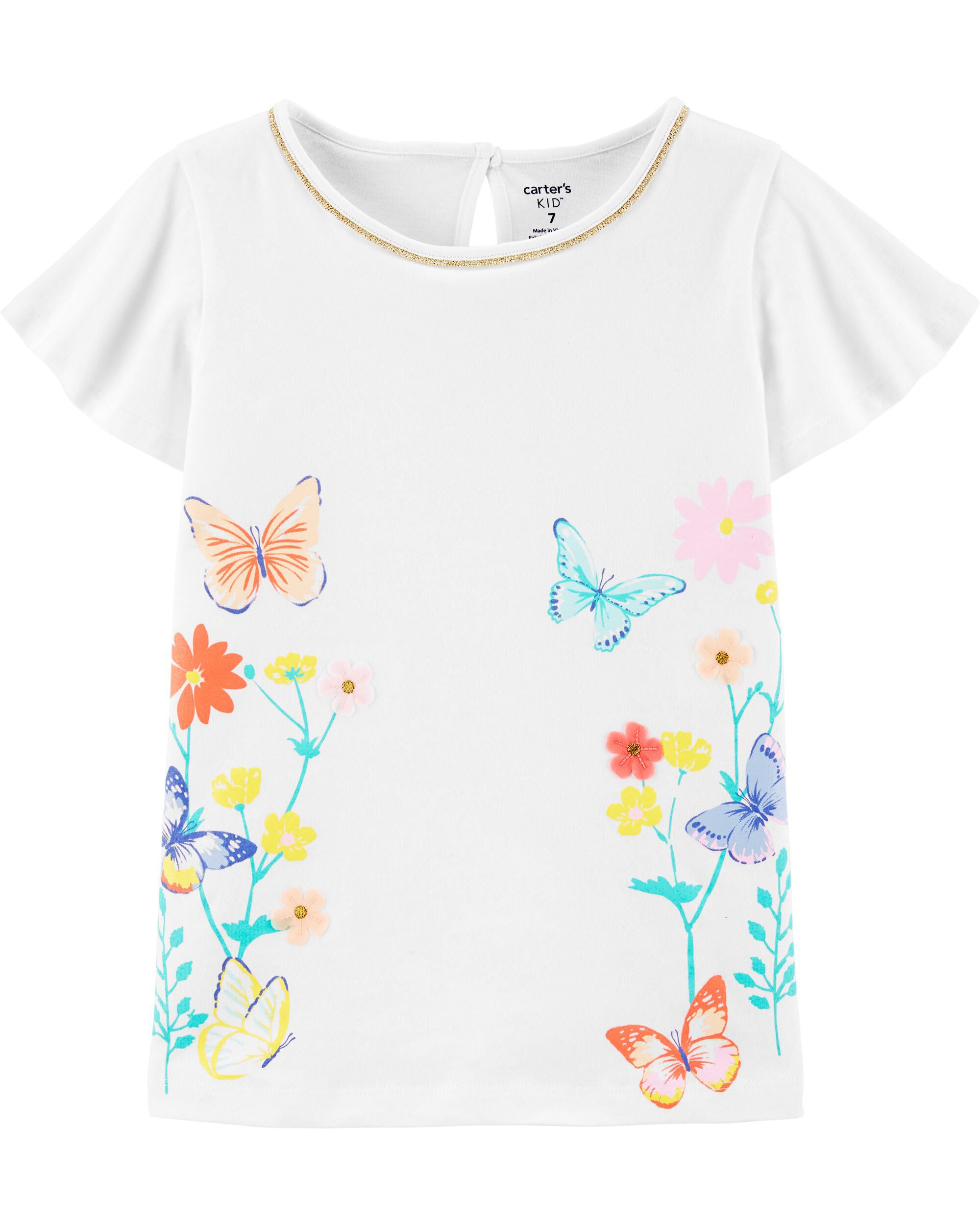 *DOORBUSTER* Floral Butterfly Tulip Jersey Tee
