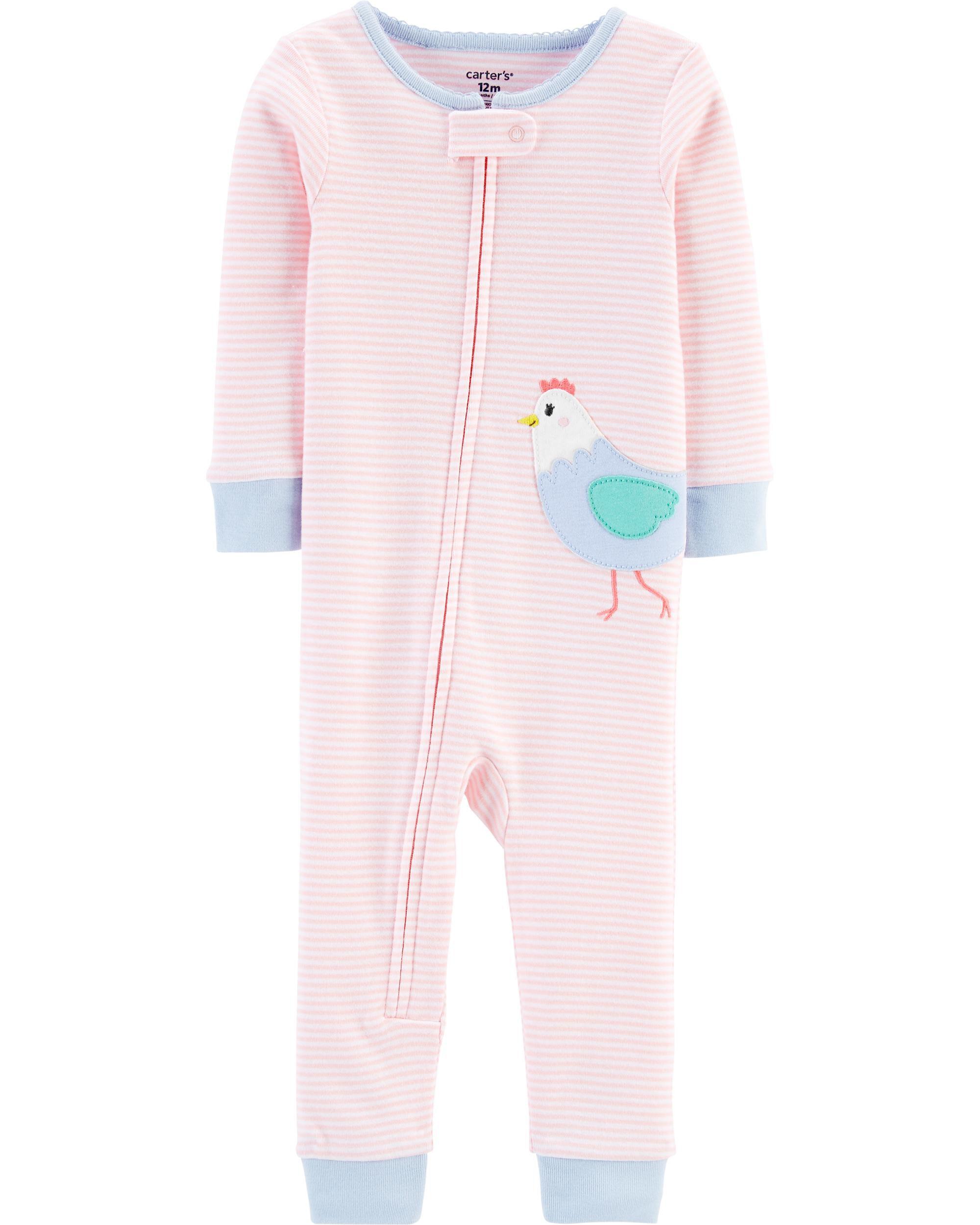 Carters Baby Girls 1-Piece Snug Fit Cotton Footless Pajamas