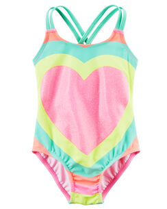 Carter S Glitter Heart Swimsuit