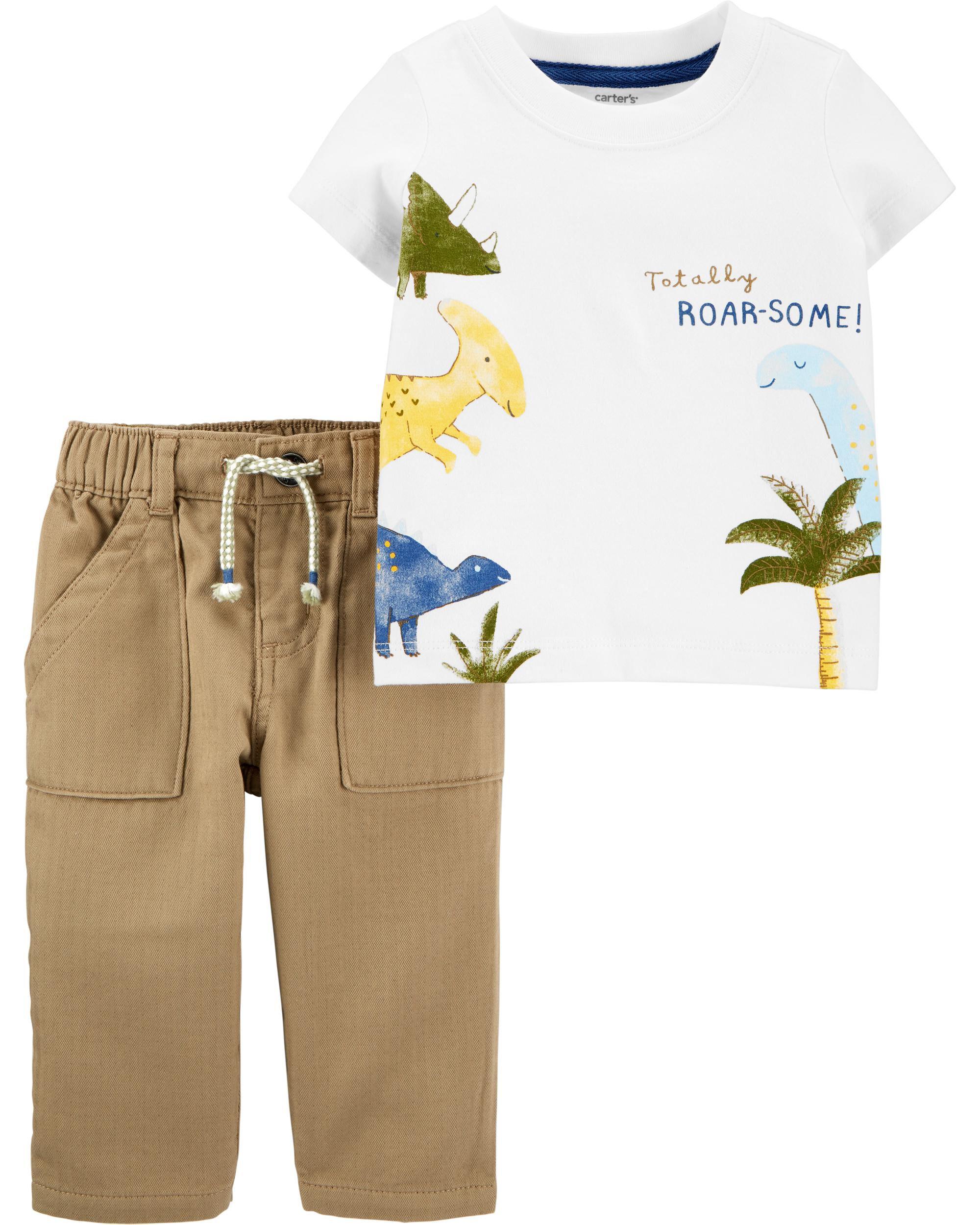 *CLEARANCE* 2-Piece Dinosaur Jersey Tee & Khaki Pant Set