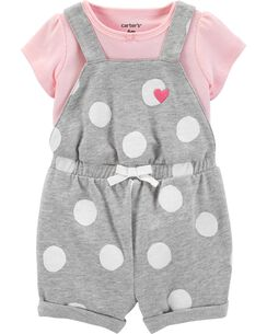 39a138559c55 2-Piece Tee   Polka Dot Shortalls Set