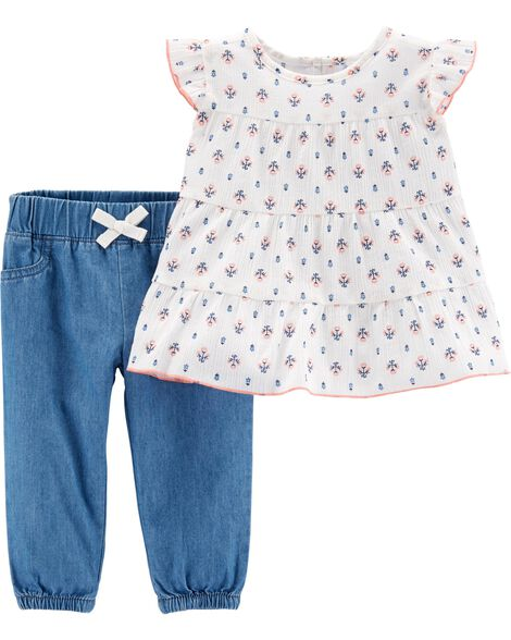 c2ecb12ae 2-Piece Floral Top   Chambray Pant Set