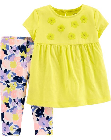 2-Piece Floral Top & Legging Set