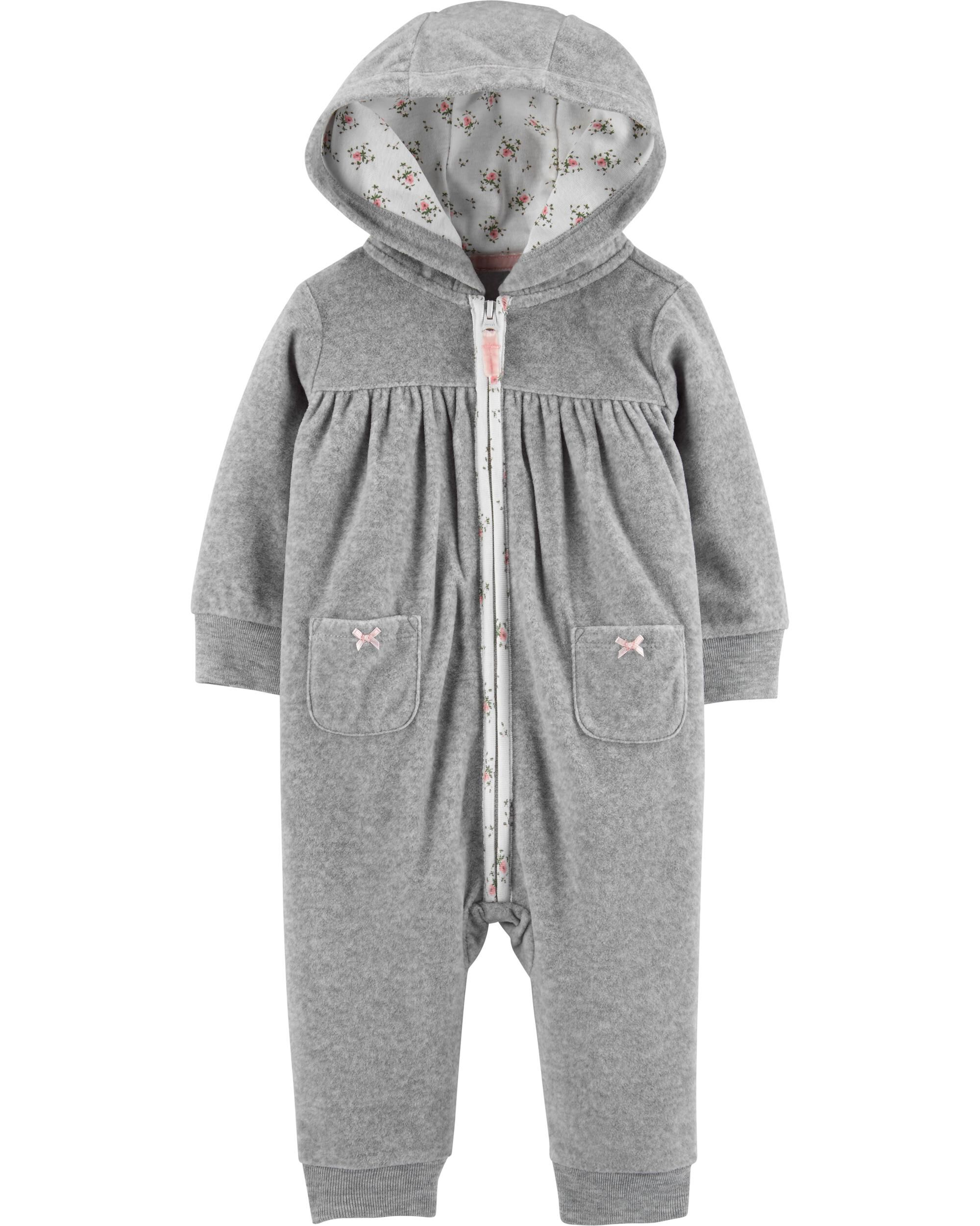 *CLEARANCE* Hooded Zip-Up Fleece Jumpsuit