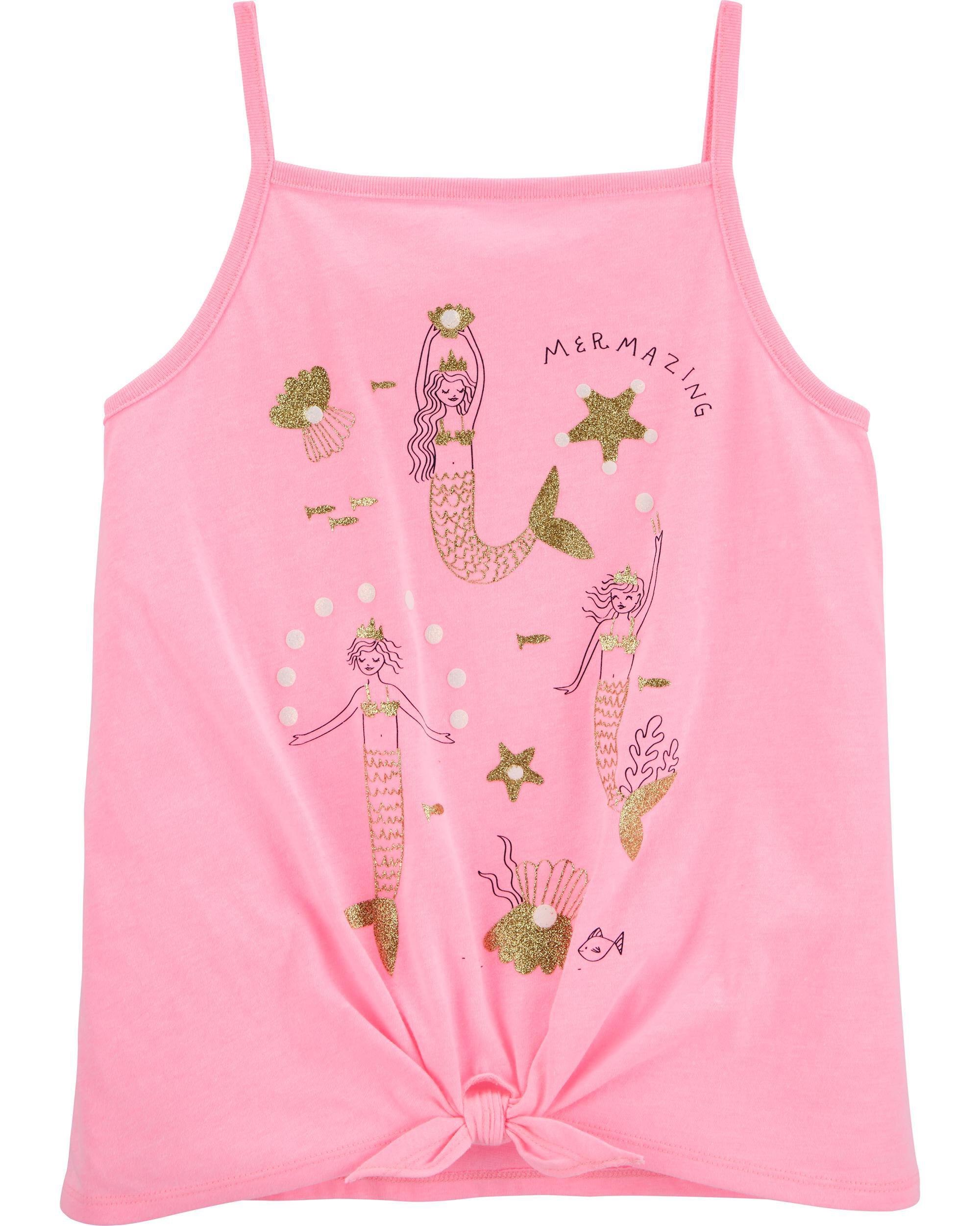 NEW Girls Tank Top Size Medium 7-8 Green High-Low Shirt Love Summer Front Tie