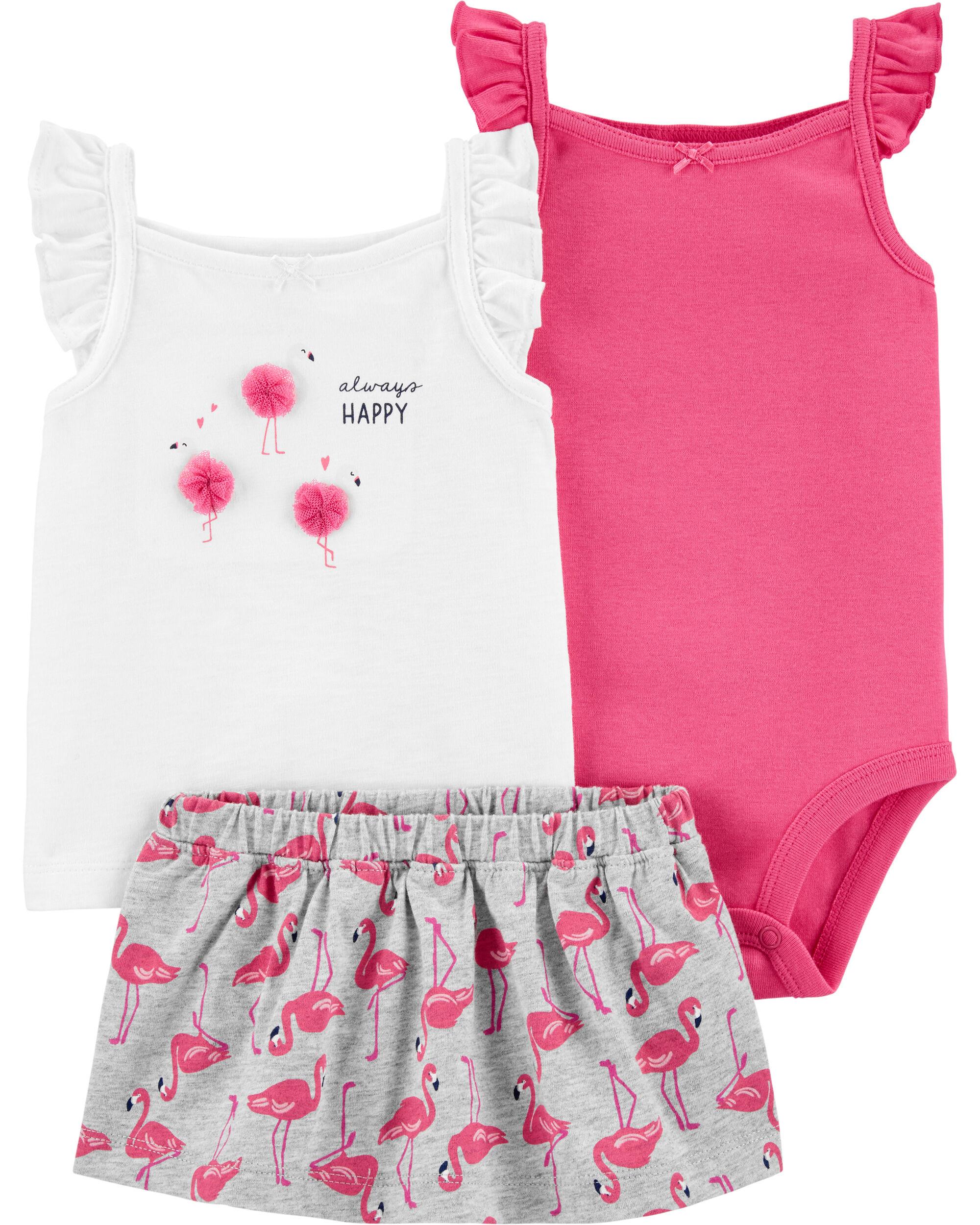 *CLEARANCE* 3-Piece Flamingo Little Skort Set