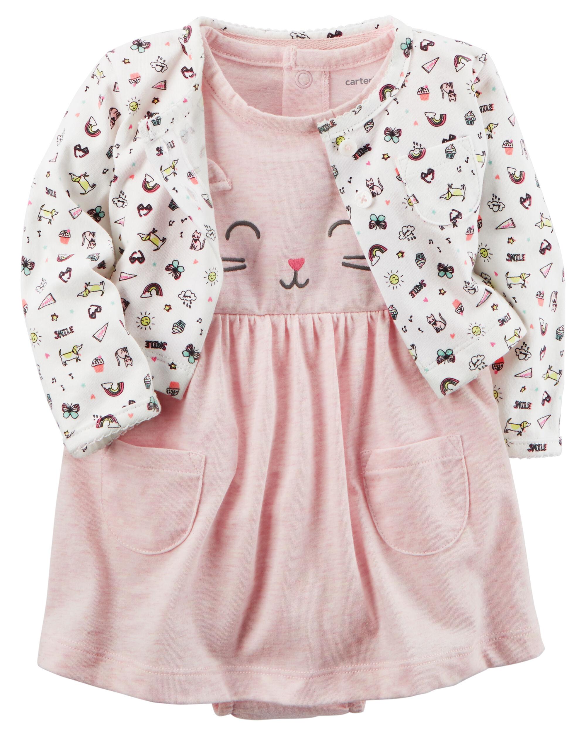2 Piece Heathered Bodysuit Dress & Cardigan Set  