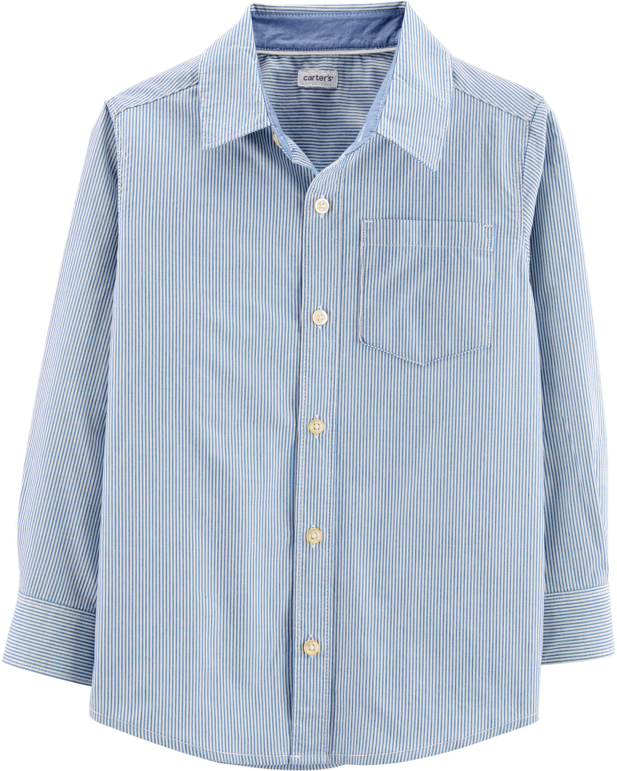 *CLEARANCE* Striped Chambray Button-Front Shirt