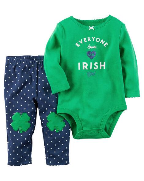 678318953 2-Piece St. Patrick's Day Bodysuit Pant Set | Carters.com