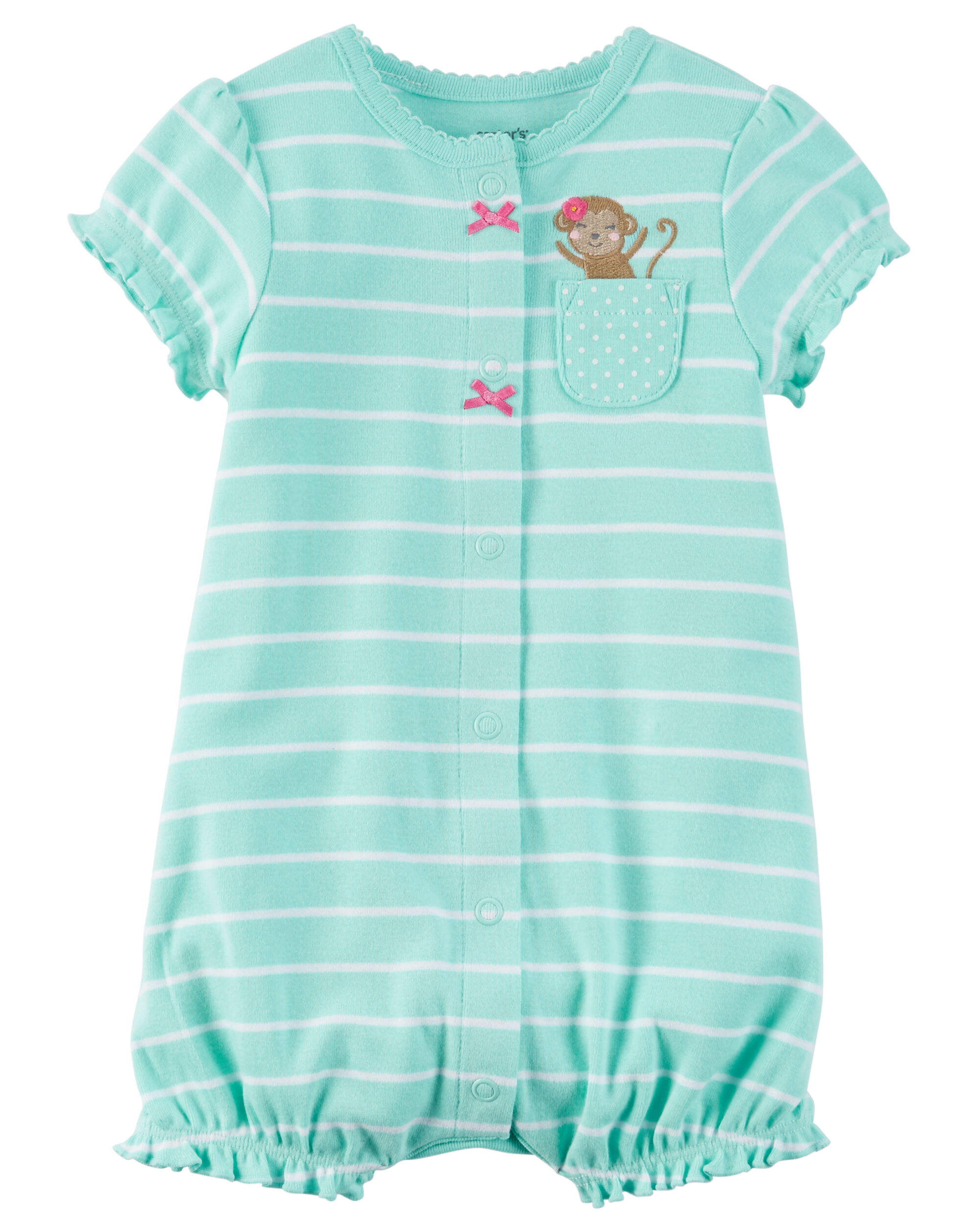 Carters Cotton Flutter Sleeves Snap-Up Romper